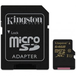 Card memorie Kingston Micro SDXC 64GB Clasa 10 UHS-I U1 + Adaptor SD