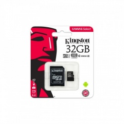Kingston 32GB MicroSDHC Canvas Select 80R, Class 10, UHS-I + Adaptor SD