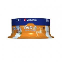 DVD-R AZO Verbatim, 4.7GB, 16X, printabil,Set 25 Buc