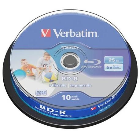 BD-R SL Datalife Verbatim, 6X, 25GB, printabil, 10 buc