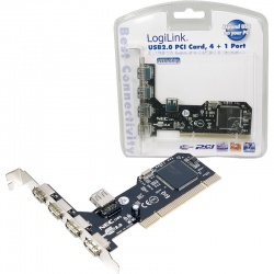 Adaptor Logilink 1x PCI Male - 4x USB 2.0 Female Extern + 1x USB 2.0 Female Intern