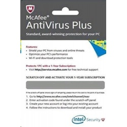 INTEL McAfee Antivirus Plus 2015 , 1 an, 1 utilizator, scratch card